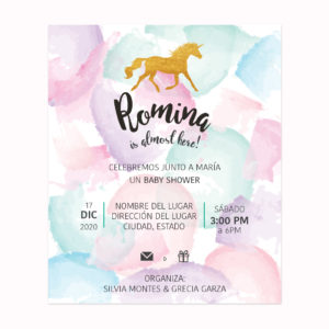 Invitación Baby Shower Unicornio Pastel