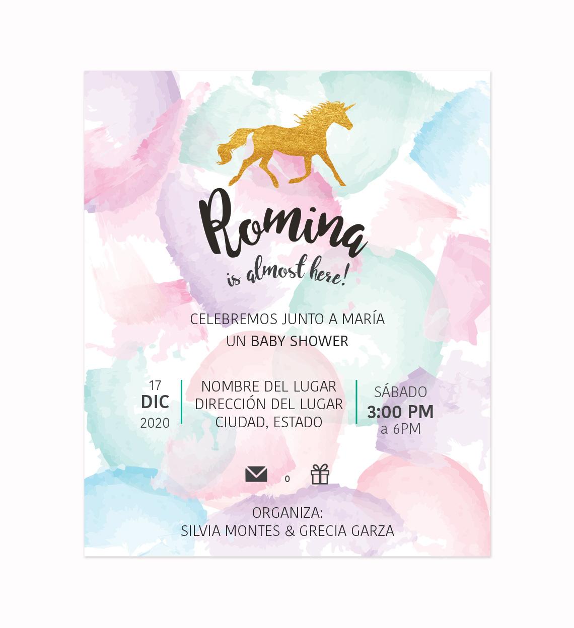 Invitación Baby Shower Unicornio Pastel