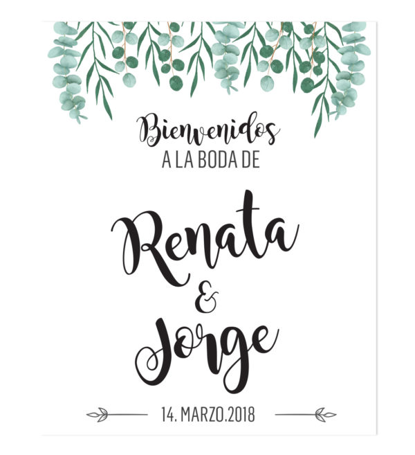Banner Bienvenida Boda Hojas