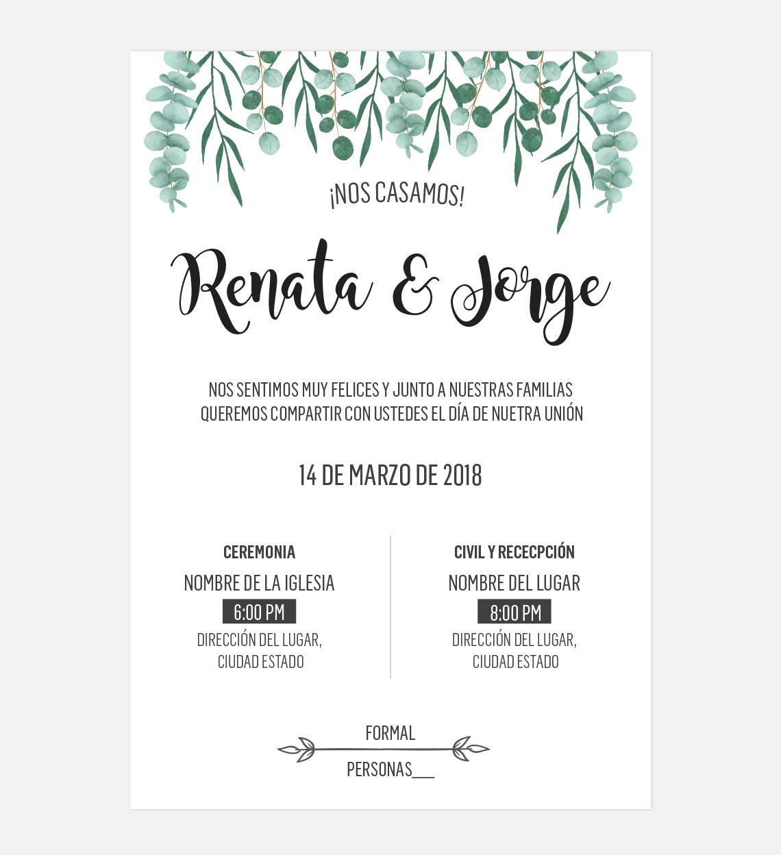 Dise o invitaci n boda hojas lista para personalizar - Disenos tarjetas de boda ...