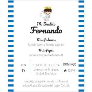 Diseño de Invitación Bautizo Rayas Boy