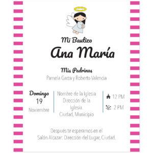 Diseño de Invitación Bautizo Rayas Girl