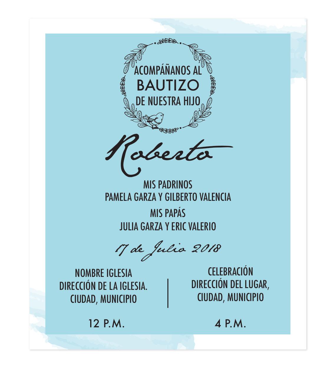 Diseño De Invitación Bautizo Antoine