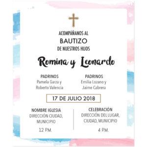 Tarjeta Bautizo Algodón Hermanitos