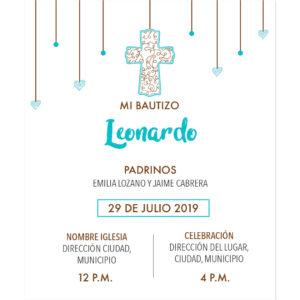 Diseño de Invitación Bautizo Cascada
