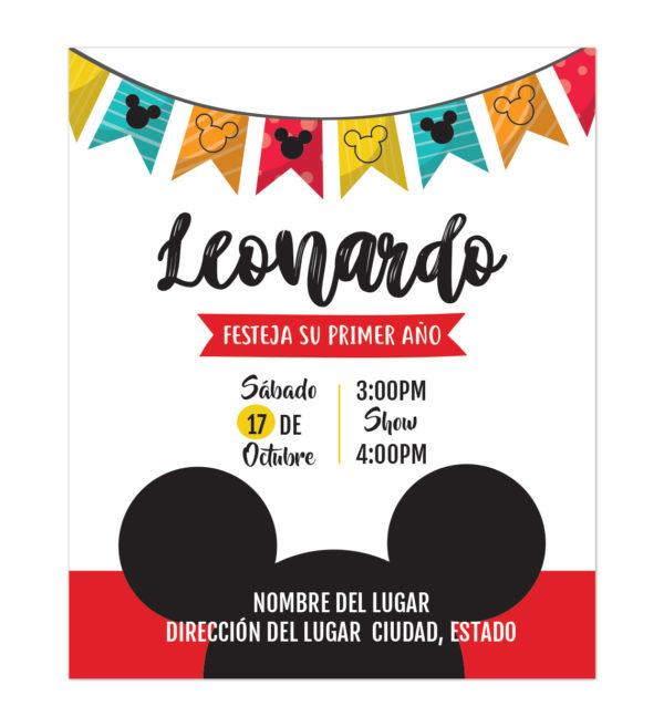 Invitación Cumpleaños Mickey