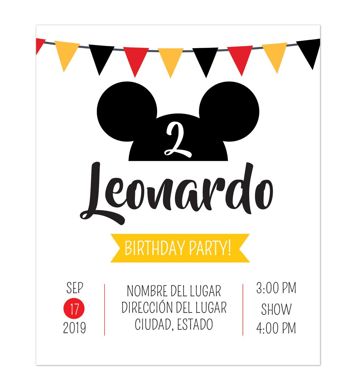 Invitación Cumpleaños Mickey Fiesta
