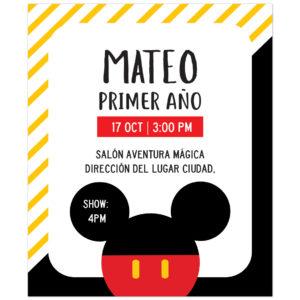 Invitación Cumpleaños Mickey Blue Diseños Personalizados