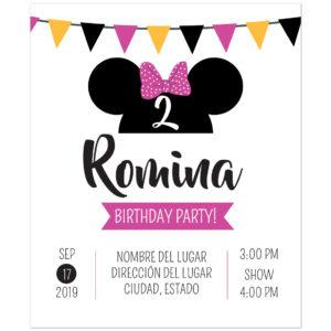 Invitación Cumpleaños Minnie Fiesta