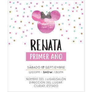 Invitación Cumpleaños Minnie Pink
