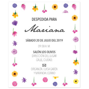 Invitación Despedida de Soltera Pared Flores