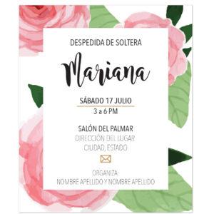Invitación Despedida de Soltera Flor XL