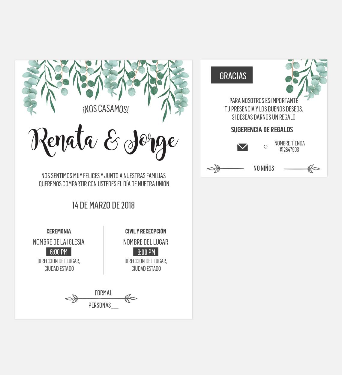 Diseño Invitación Boda Hojas
