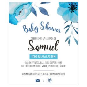 Diseño Invitación Baby Shower Flor Azul