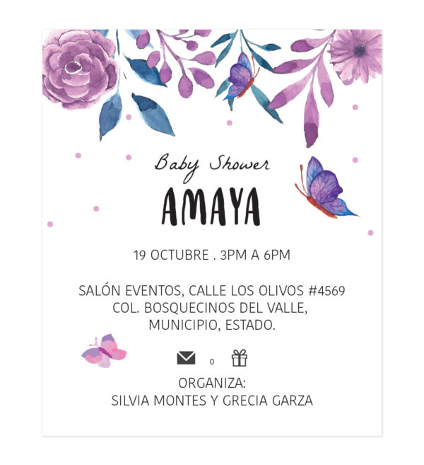 Diseño Invitación Baby Shower Butterfly