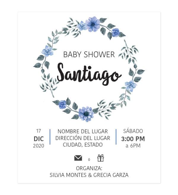 Diseño Invitación Baby Shower Corona Flor