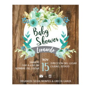 Diseño Invitación Baby Shower Wood
