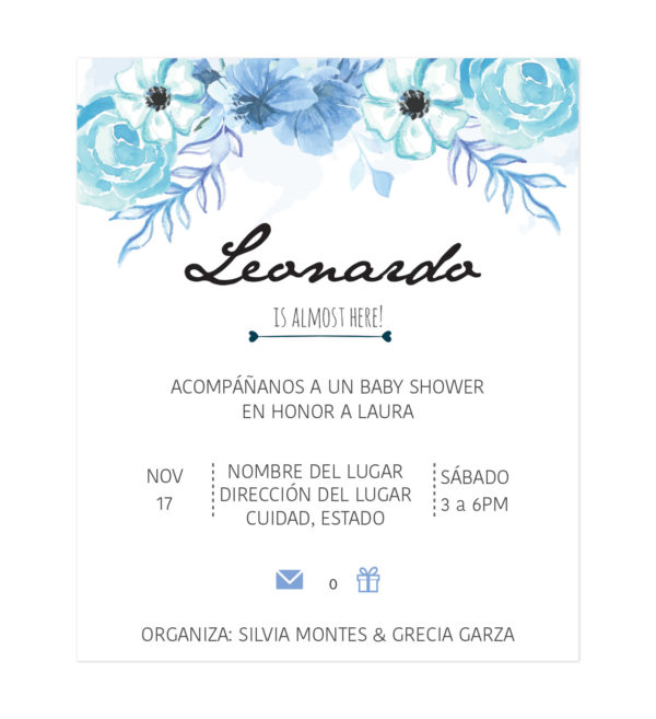 Diseño Invitación Baby Shower Blueflower