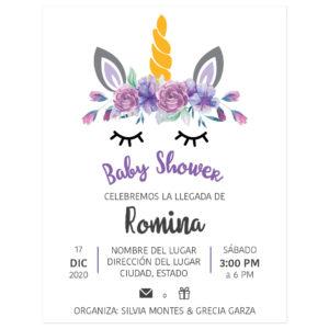 Diseño Invitación Baby Shower Unicornio Flores Morado