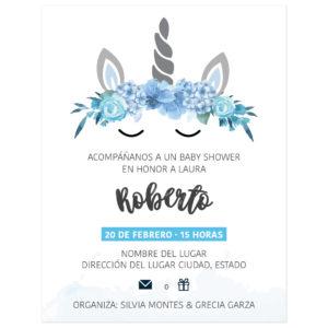 Diseño Invitación Baby Shower Unicornio Flores Azul