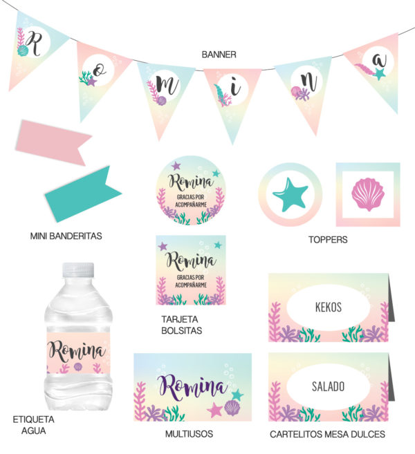 Kit Infantil Sirena Multicolor