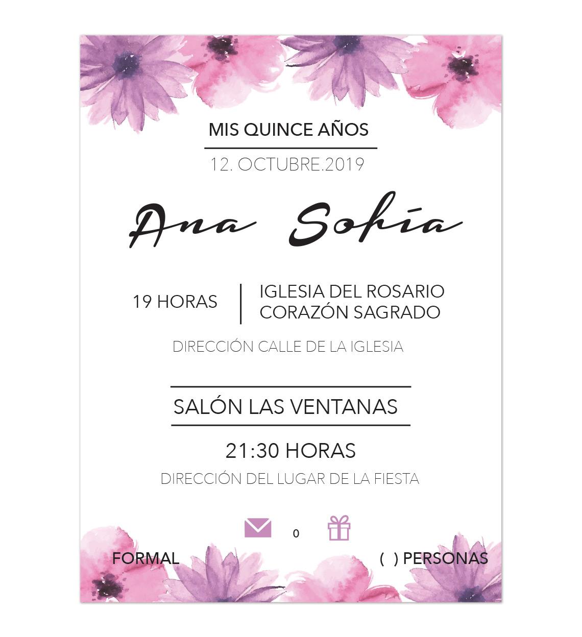 Invitación Xv Años Rose Rose