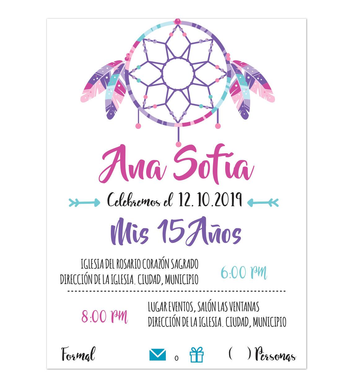 Invitación Xv Años Atrapasueños Morado