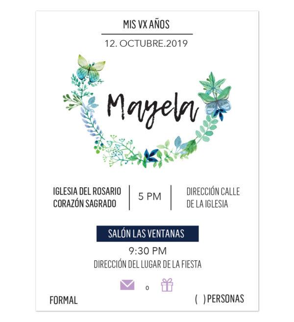 Invitación VX Años Mariposa