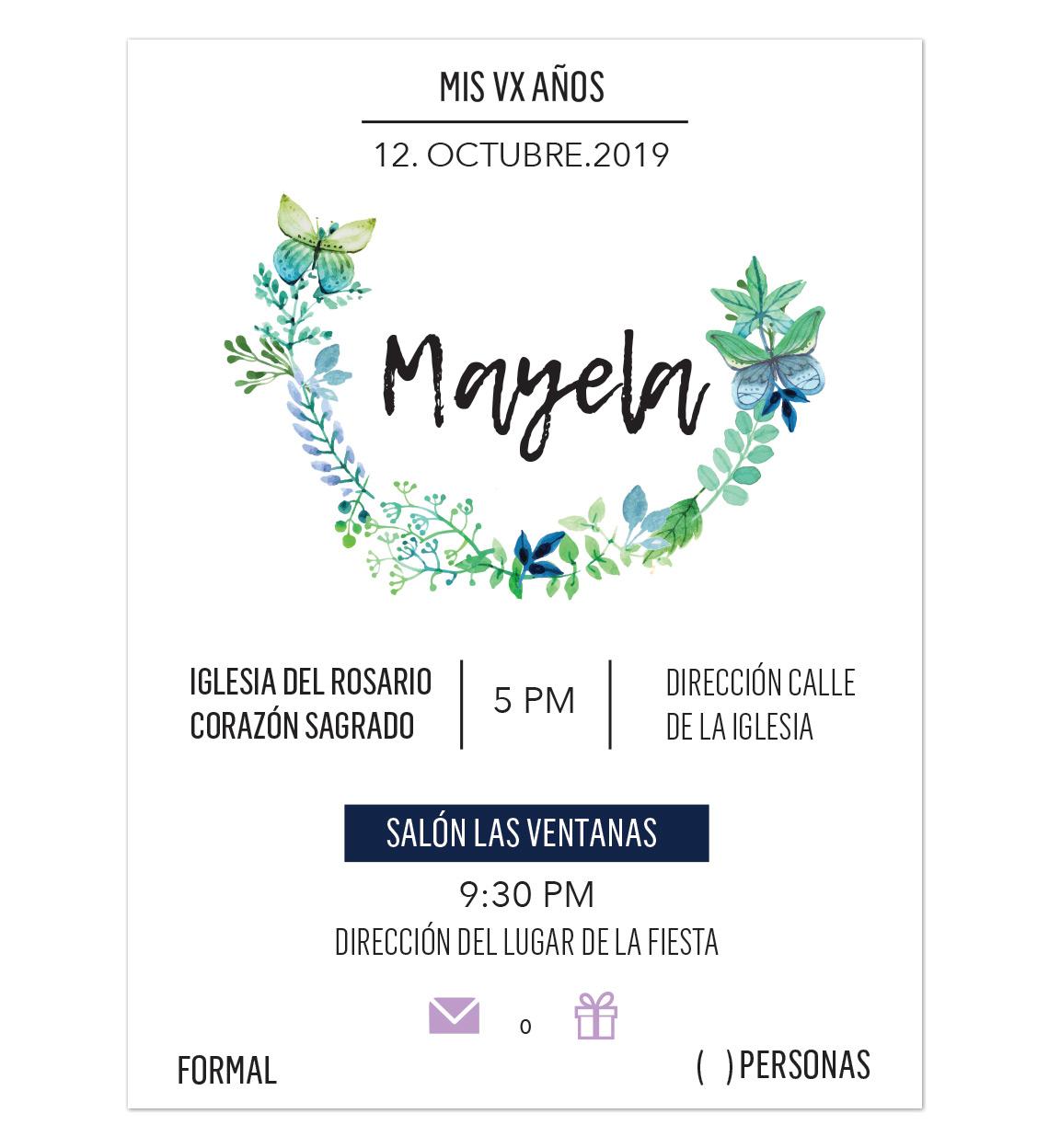Invitación Xv Años Mariposa