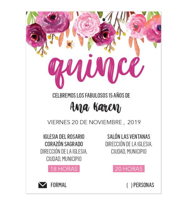 Invitación XV Años Flores