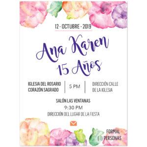 Invitación XV Años Flores Colores