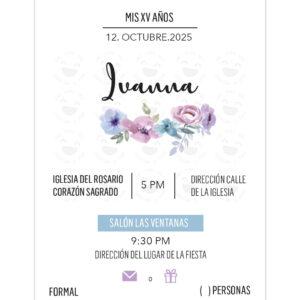 Invitación Quince Años Línea Floral