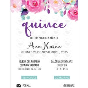 Invitación Quince Años Pink Flowers