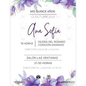 Invitación Quince Años Violetas