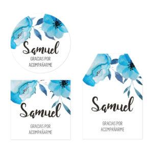 Tarjeta de Agradecimiento Baby Shower Flor Azul