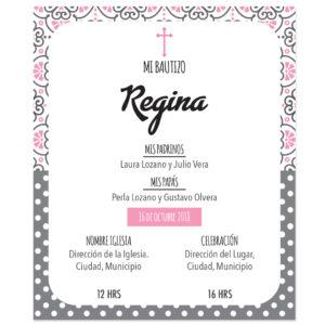 Diseño de Invitación Bautizo Pink Vintage