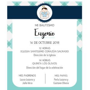 Diseño de Invitación Bautizo Blue Tartan
