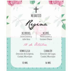 Diseño de Invitación Bautizo Flor Vintage