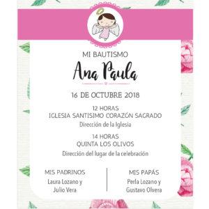 Invitación Bautizo Lola