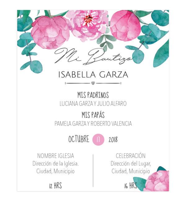 Invitación Bautizo Niña Peony