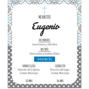 Invitación Bautizo Blue Vintage