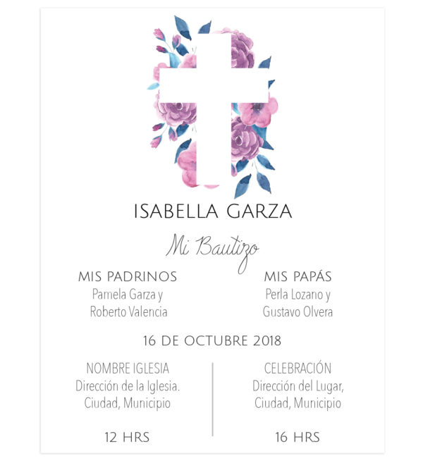 Invitación Bautizo Cruz Rosa