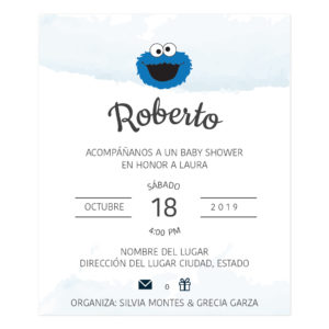 Diseño Invitación Baby Shower Blue Monster