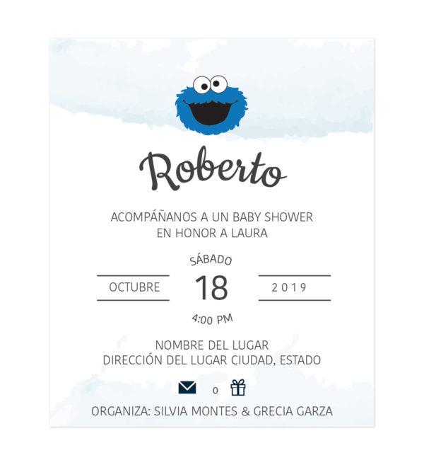 Diseño Invitación Baby Shower Blue Monster