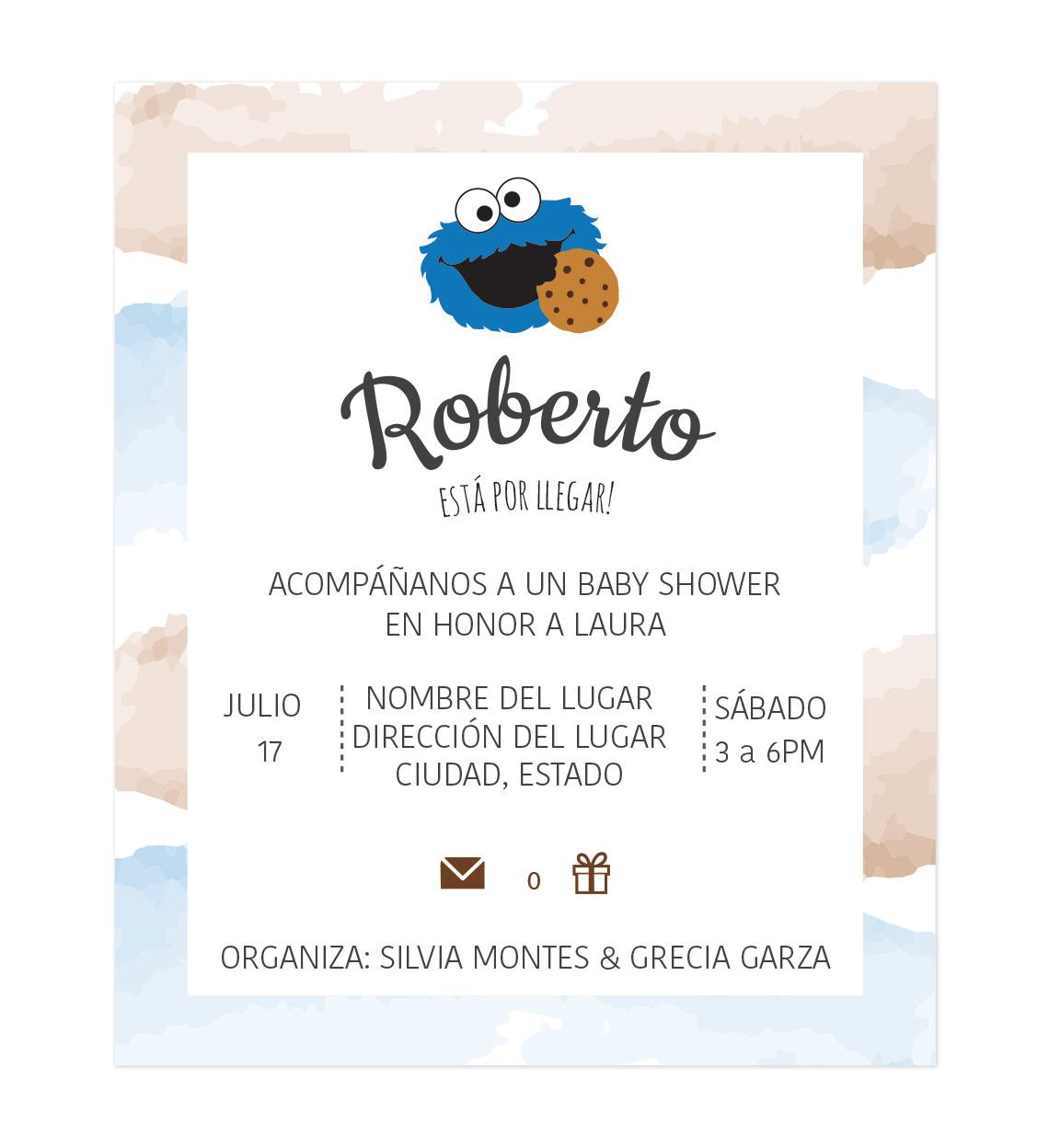 Diseño Invitación Baby Shower Cookie Monster