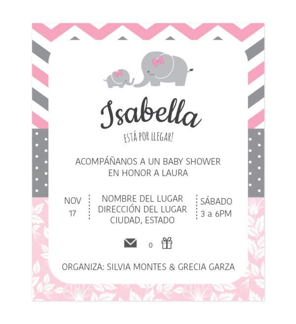 Invitación Baby Shower Hojas Doradas