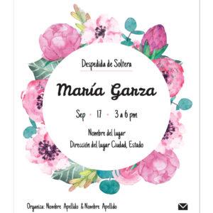 Invitación Despedida de Soltera Peonies Circular