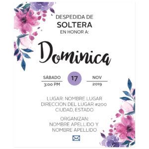 Invitación Despedida de Soltera Flores Moradas