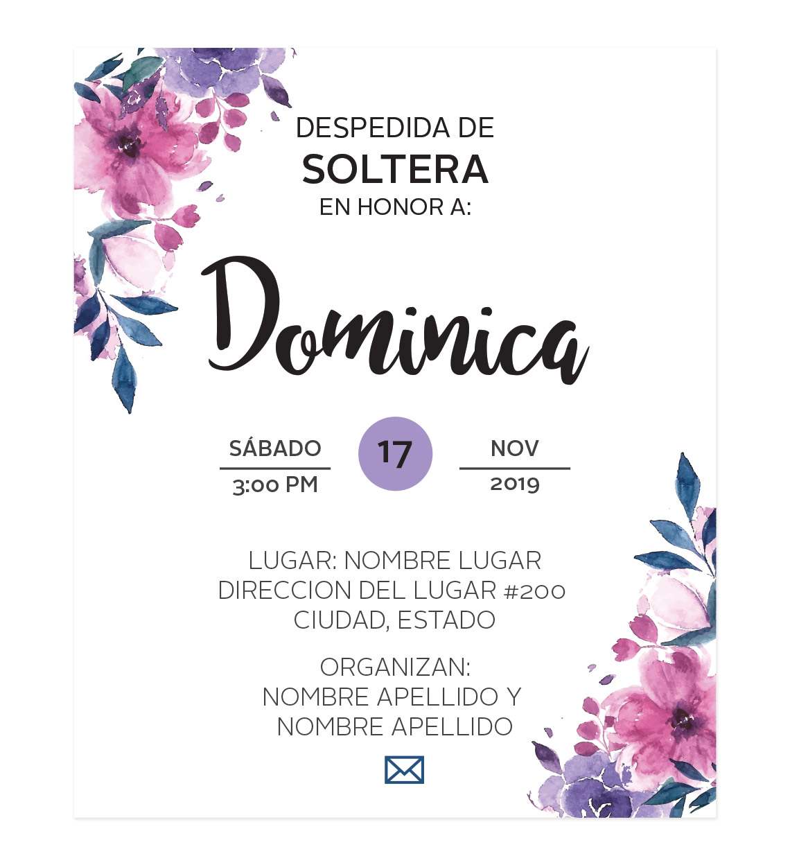 Invitacion Despedida De Soltera Flores Moradas Oh Yupi Yei