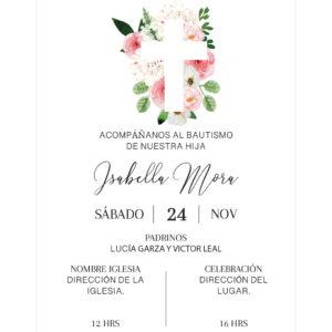 Invitación Bautizo Cruz Rosa L